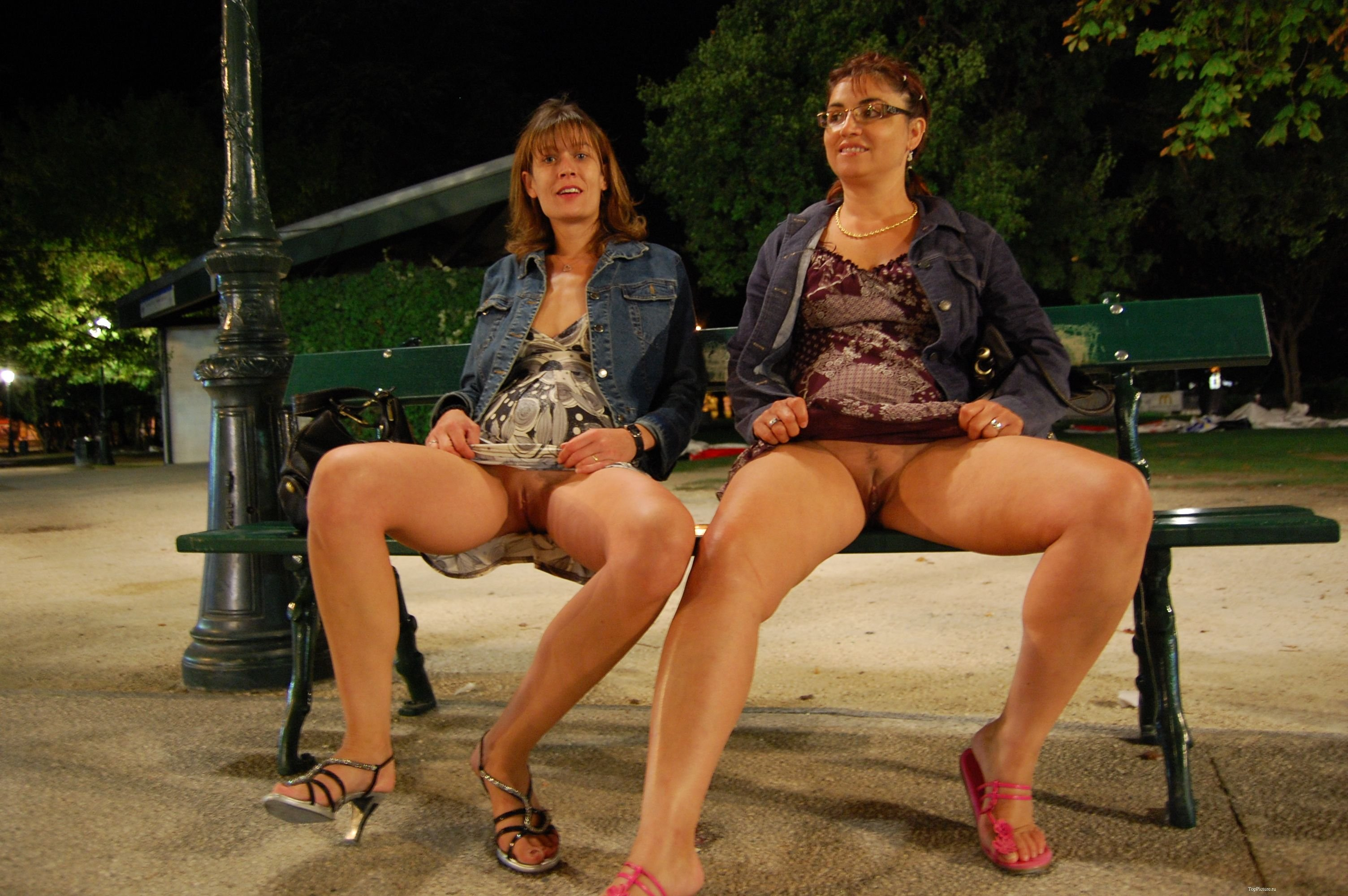 Pantyless Wife Leg Up On Park Bench For Stranger Behind Her No Panties Pics, Public Flashing Pics, Pussy Flash Pics